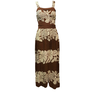 40s Brown and White Hawaiian Print Rayon Dress FRONT 1 of 4