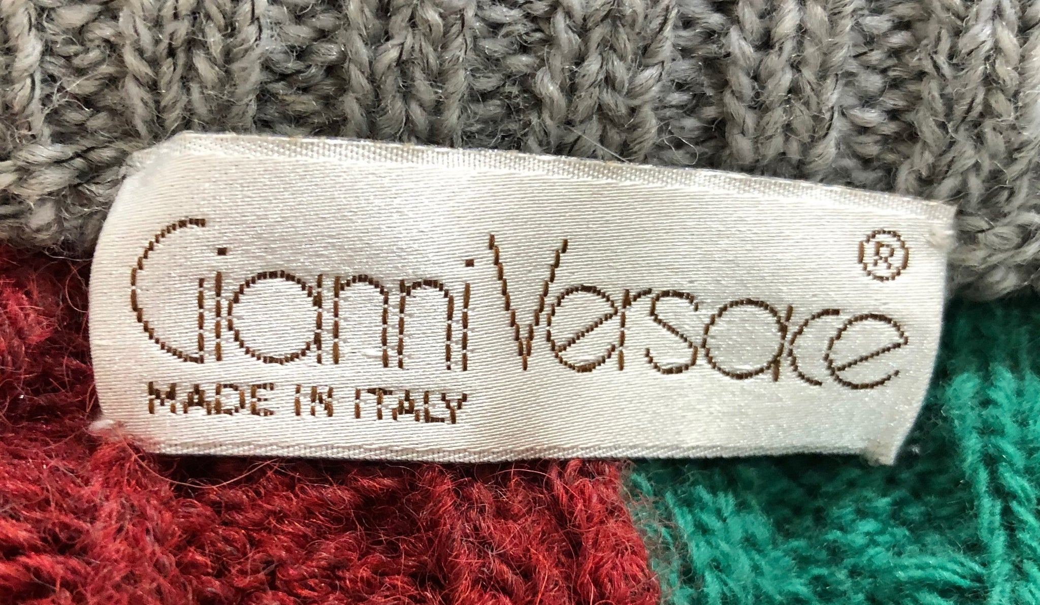 Lifetime Versace Oversized cable Knit Striped Sweater Label 2 of 3