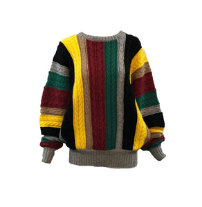 Lifetime Versace Oversized cable Knit Striped Sweater Front 1 of 3