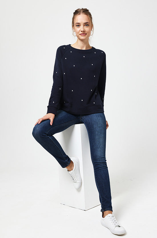 Willersey Navy Embroidered Sweat