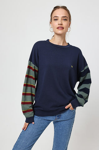 Longborough Navy Stripe Sweat