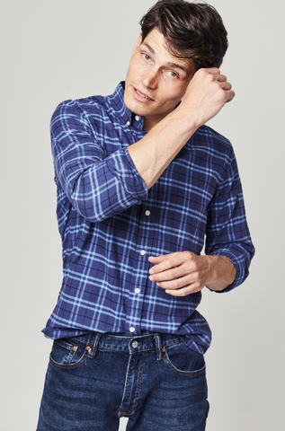 Stanley Navy Brushed Cotton Check Shirt