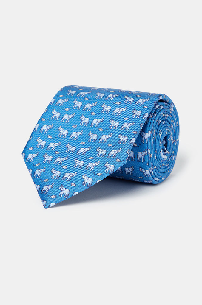 Favourite Elephant Blue Tie