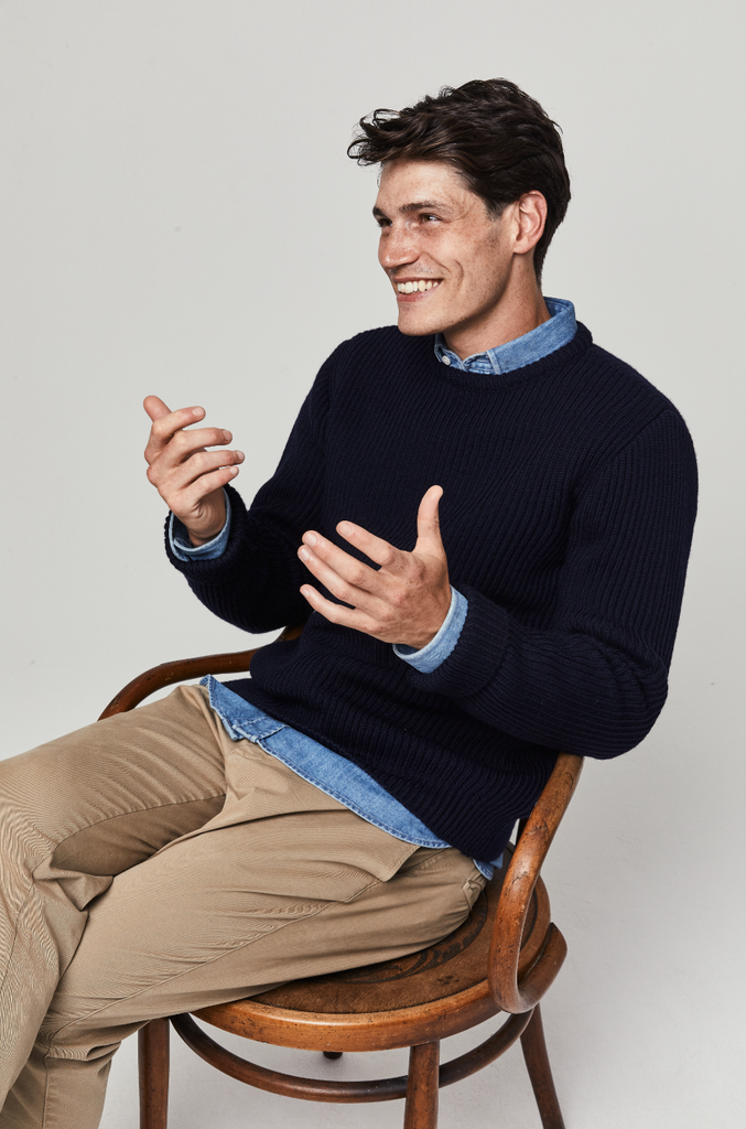 Penrith Navy Merino Wool Fisherman Rib Jumper