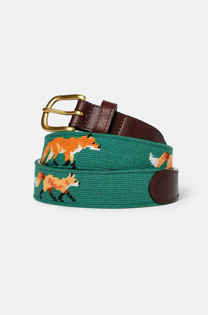 Lauderdale Fox Green Needlepoint Belt