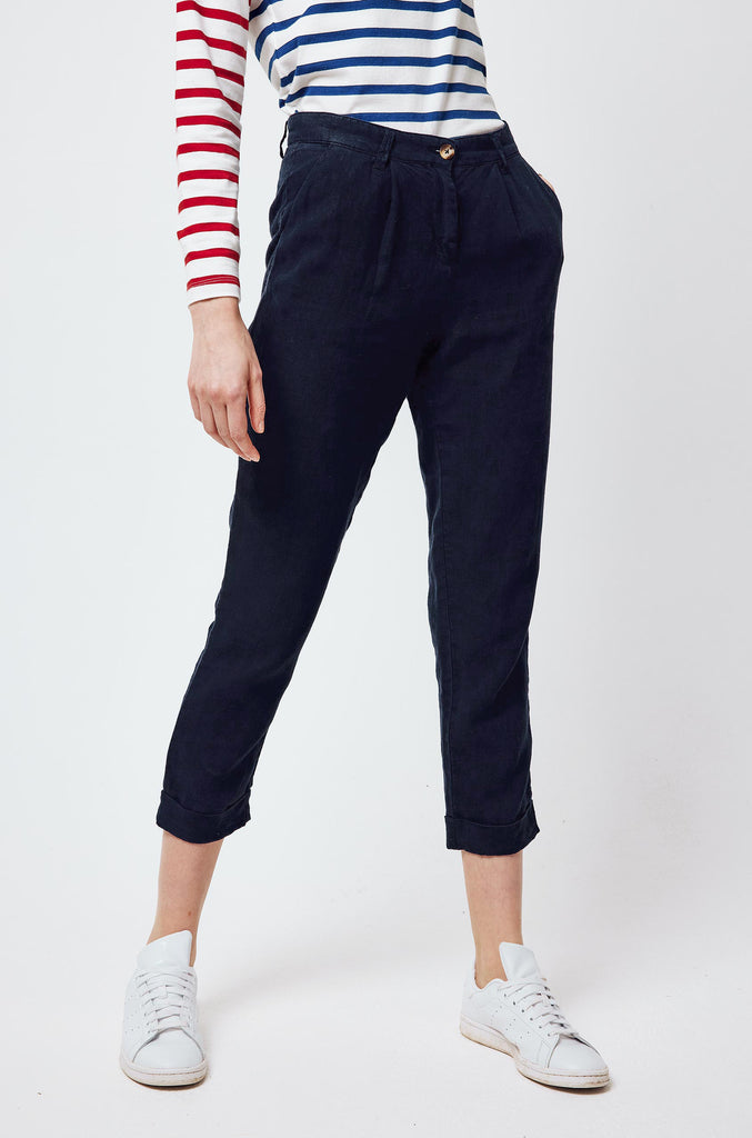 Charmouth Navy Linen Trousers