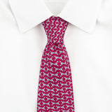 Dark Pink Lobster Printed Silk Tie