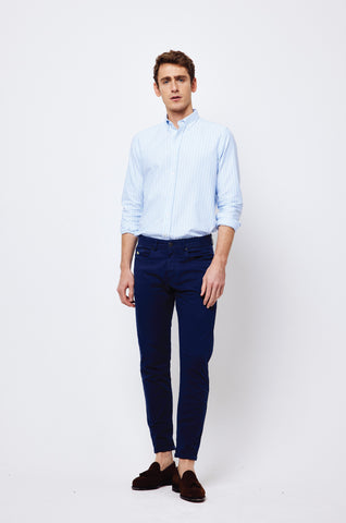Solent 5 Pocket Washed Navy Chinos