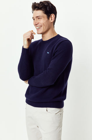 Porchfield Navy Crew Neck Jumper
