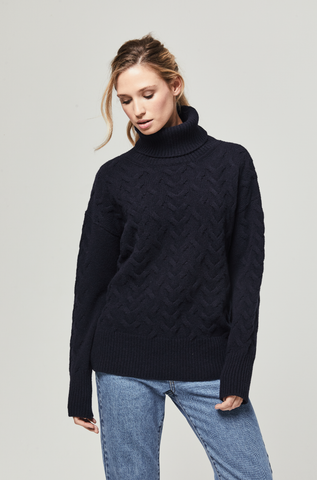 Taylor Navy Lambswool Cable Roll Neck Jumper