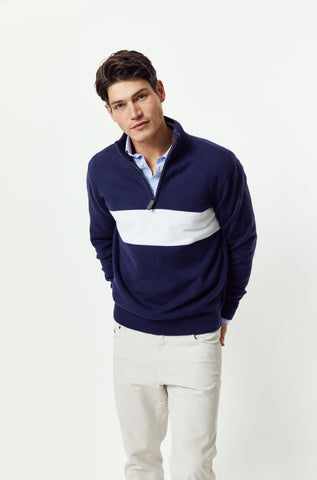 Bowcombe Navy Half Zip Jumper