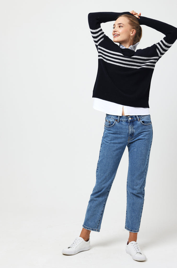 Bourton Navy Chest Stripe Jumper
