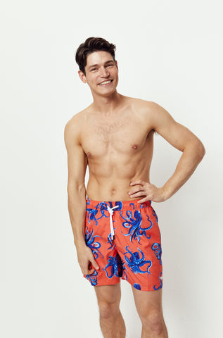 Benthic Octopus Coral Swim Shorts