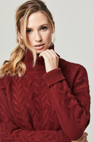 Taylor Port Lambswool Cable Roll Neck Jumper