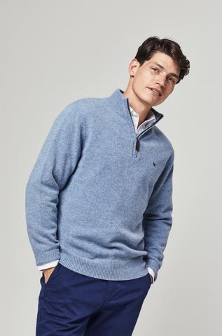 Marlborough Sky Lambswool Half Zip Jumper