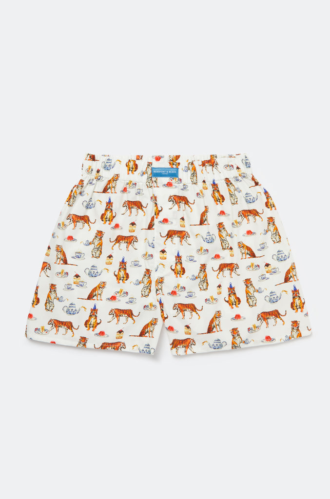 Tiger Party White Boxer Shorts