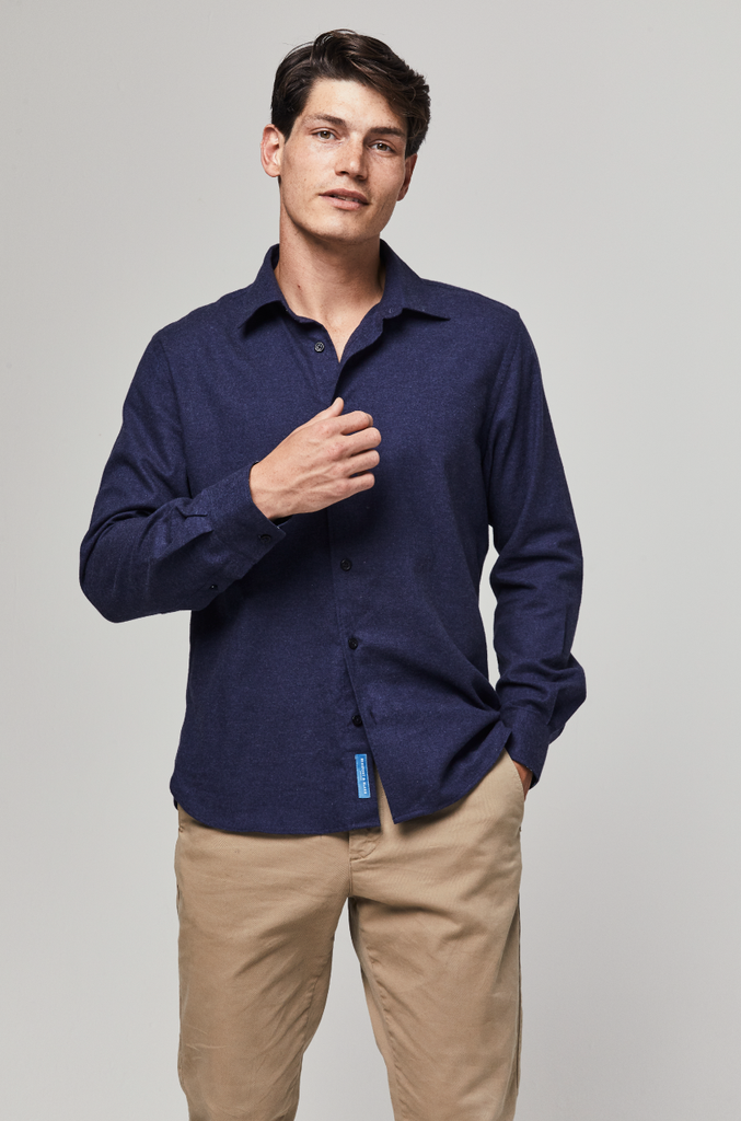 Thurso Navy Cashmere Blend Shirt