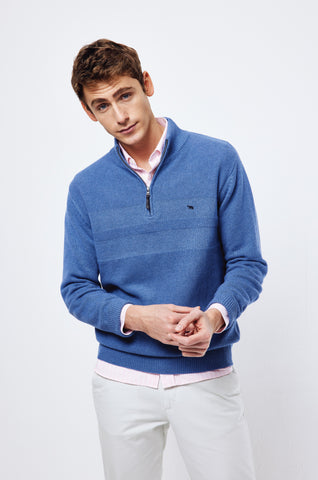 Weston Indigo Half Zip Jumper
