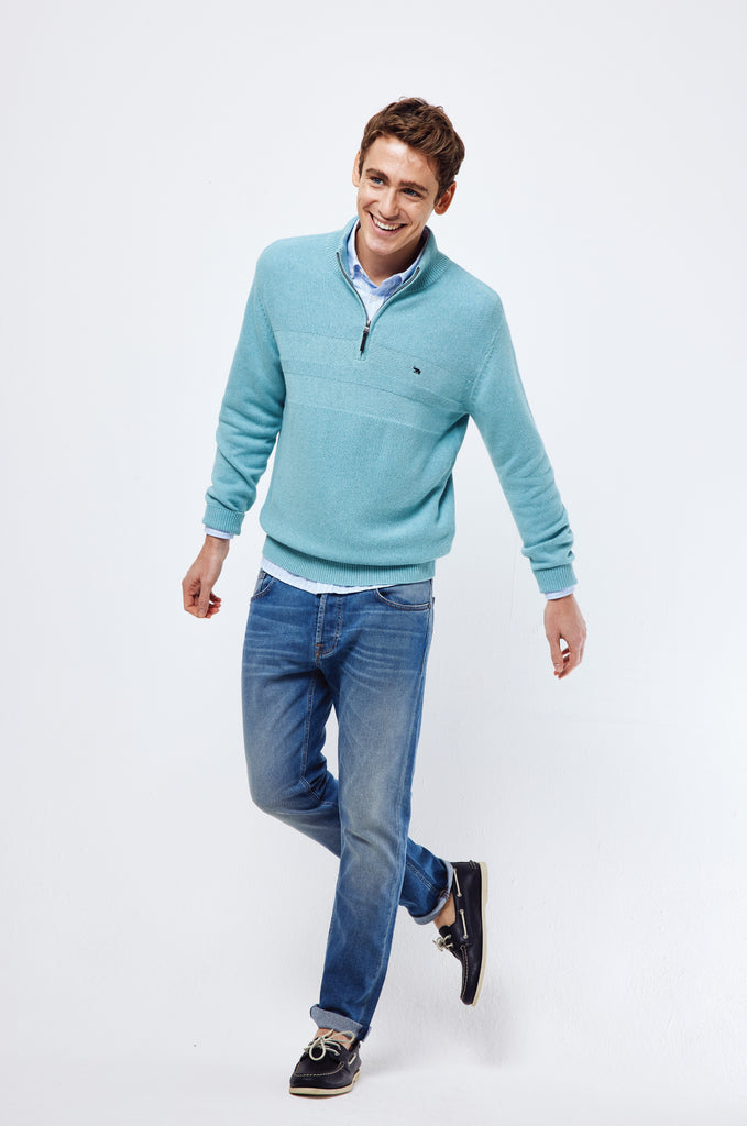 Weston Mint Half Zip Jumper