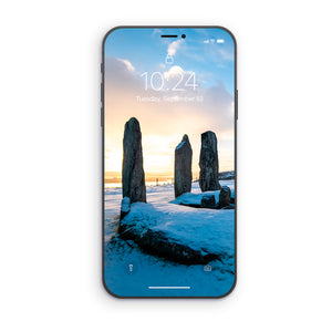Callanish Snowy Sunrise Phone Wallpaper