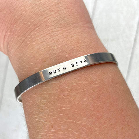 Ruth 3:10 Stamped 7inch Bracelet cuff-Final Sale