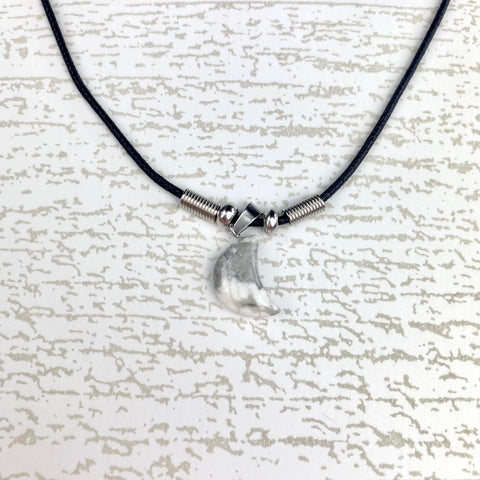 White/Grey Crescent Moon Pendant Necklace