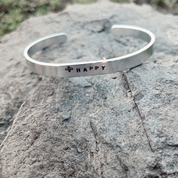 Bee Happy Hand Stamped Bracelet