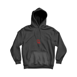 Womens Black & Red Pullover Hoodie