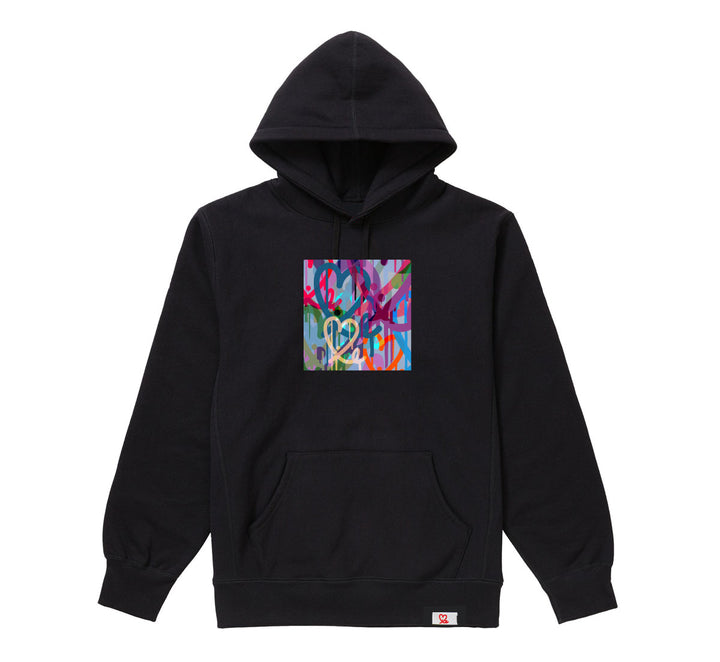1LoveIE Limited Pastel Bleeding Hearts Black Pullover Hoodie