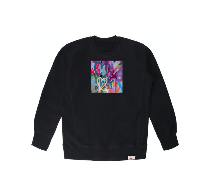 1LoveIE Limited Pastel Bleeding Hearts Black Crewneck Sweater