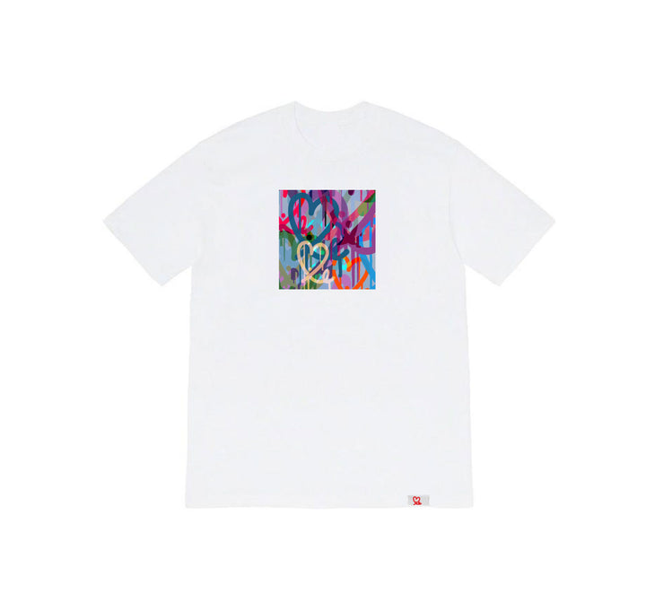 1LoveIE Limited Pastel Bleeding Hearts White Tshirt