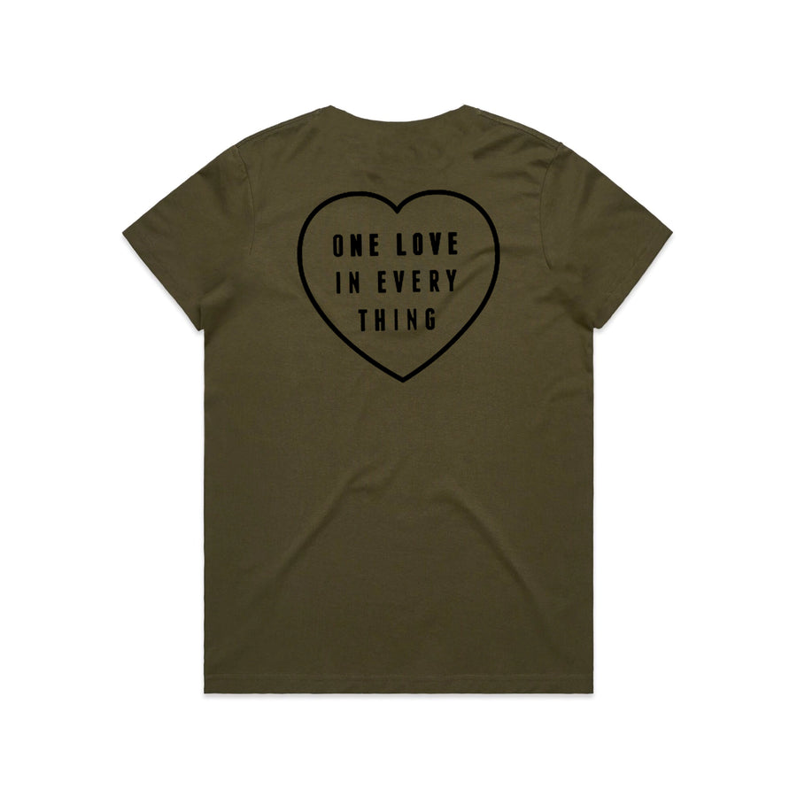 Women's One Love In Everything Tshirt Army / Black