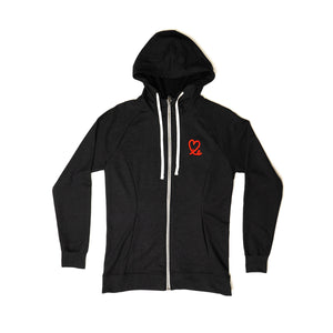Women's Black Tri-French Terry Zip Up