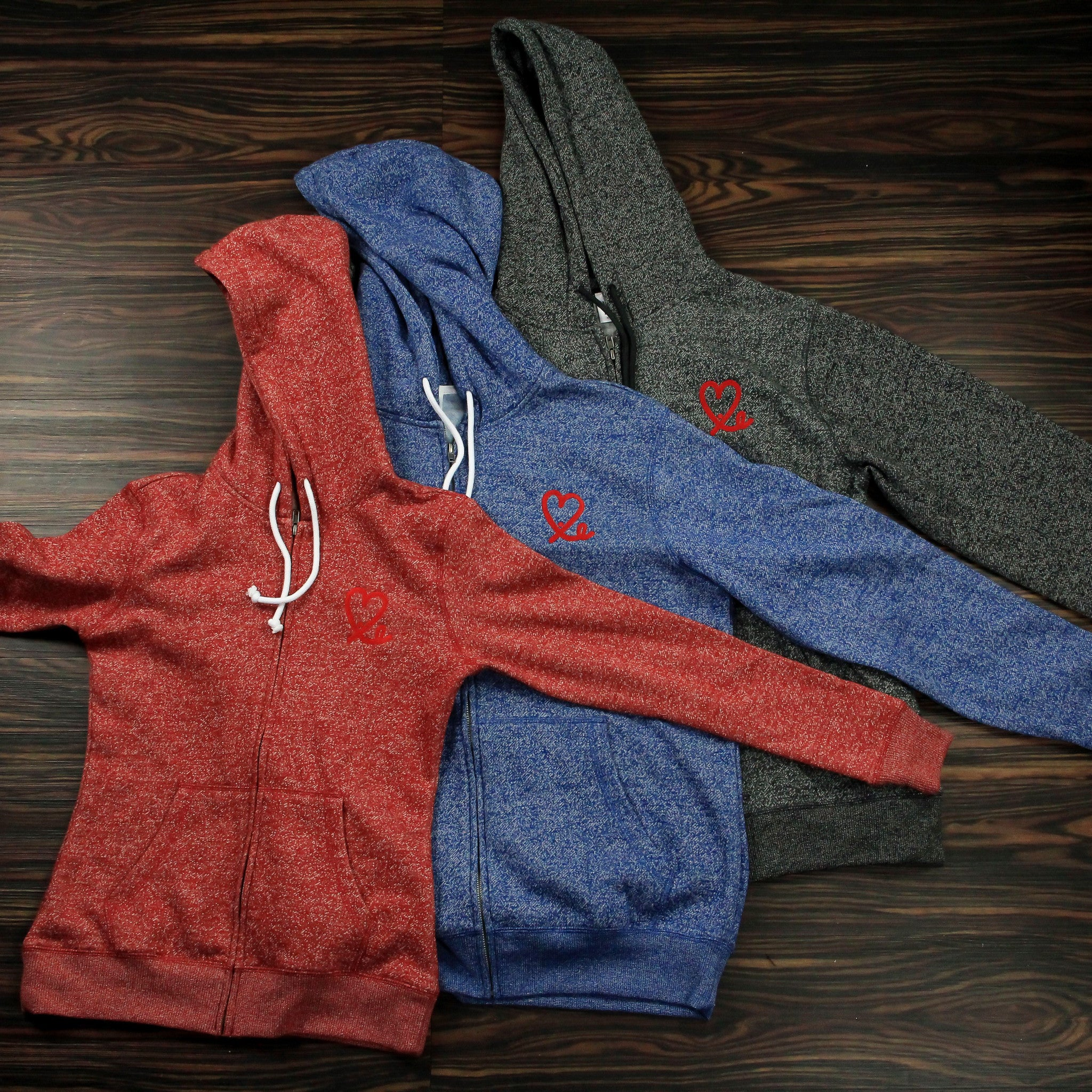 Two Tone Red Fleece-Zip Hoodie