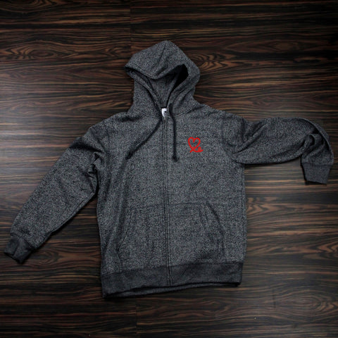 Two Tone Black Fleece-Zip Hoodie