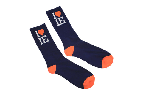1LoveIE Crew Socks Navy Blue / Orange (3 Pack)