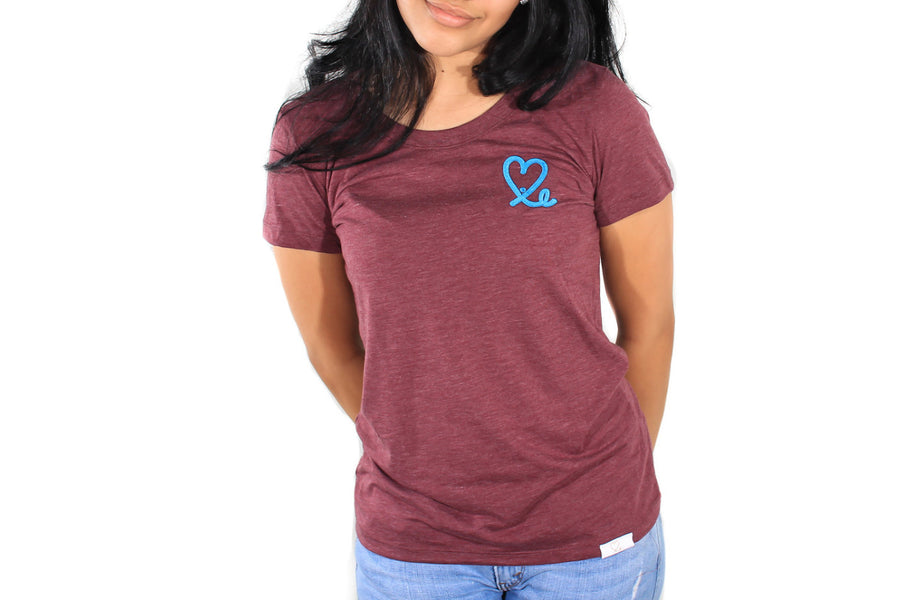 Women's Maroon and Teal Big Heart Tri-Blend Short Sleeve Tee