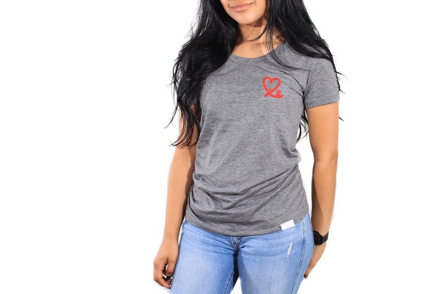 Women's Heather Grey and Red Big Heart Tri-Blend Short Sleeve Tee