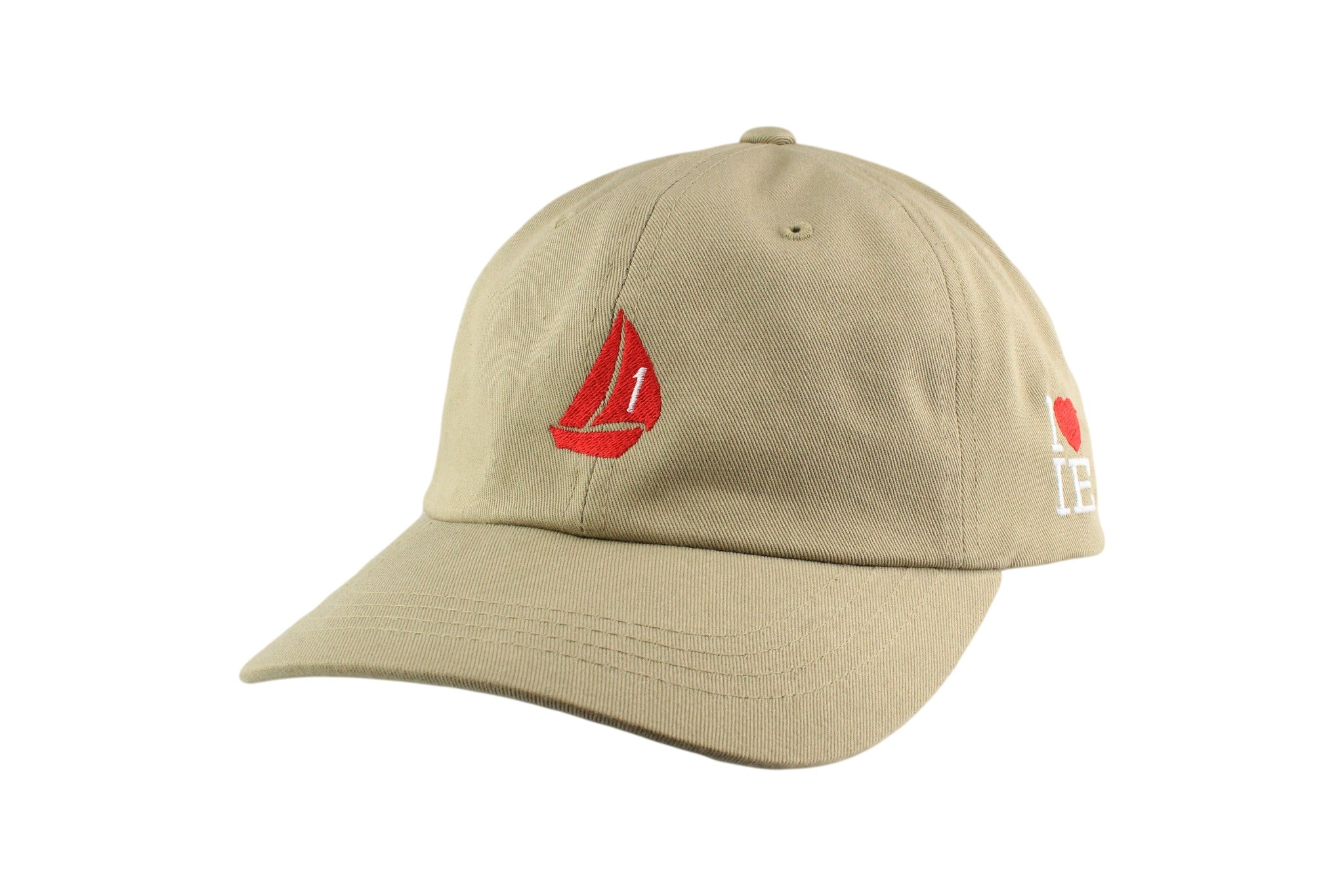 Sail Boat Signature Dad Hat (Sand / Red)