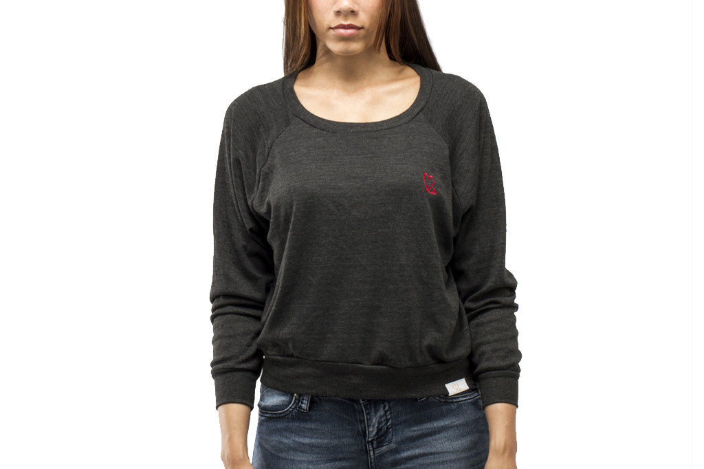 Women's Black and Red Tri-Blend Pullover