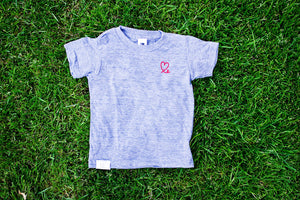 Kid's Heather Grey and Red Tri Blend T-shirt