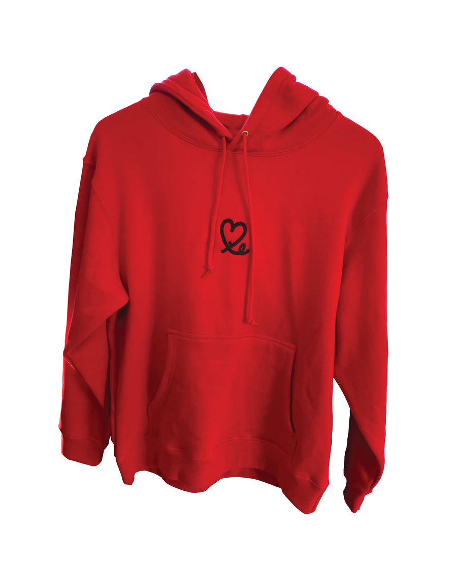 Womens Red & Black Pullover Hoodie