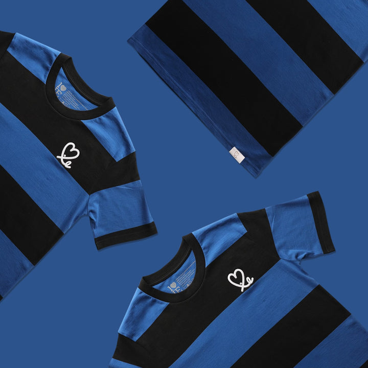 Men's Black and Royal Blue Stripe Shirt
