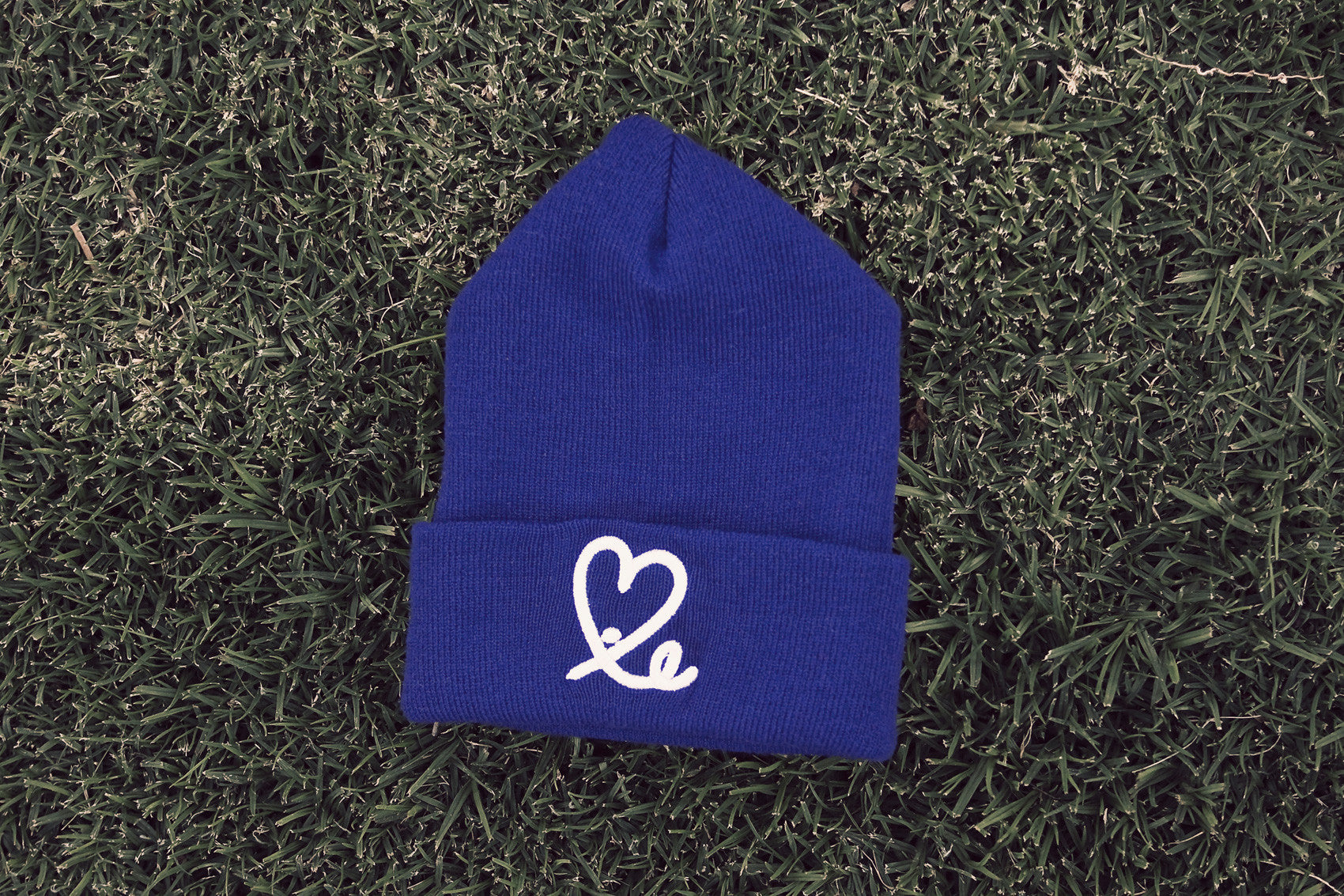 Fold Beanie (Royal Blue/White)