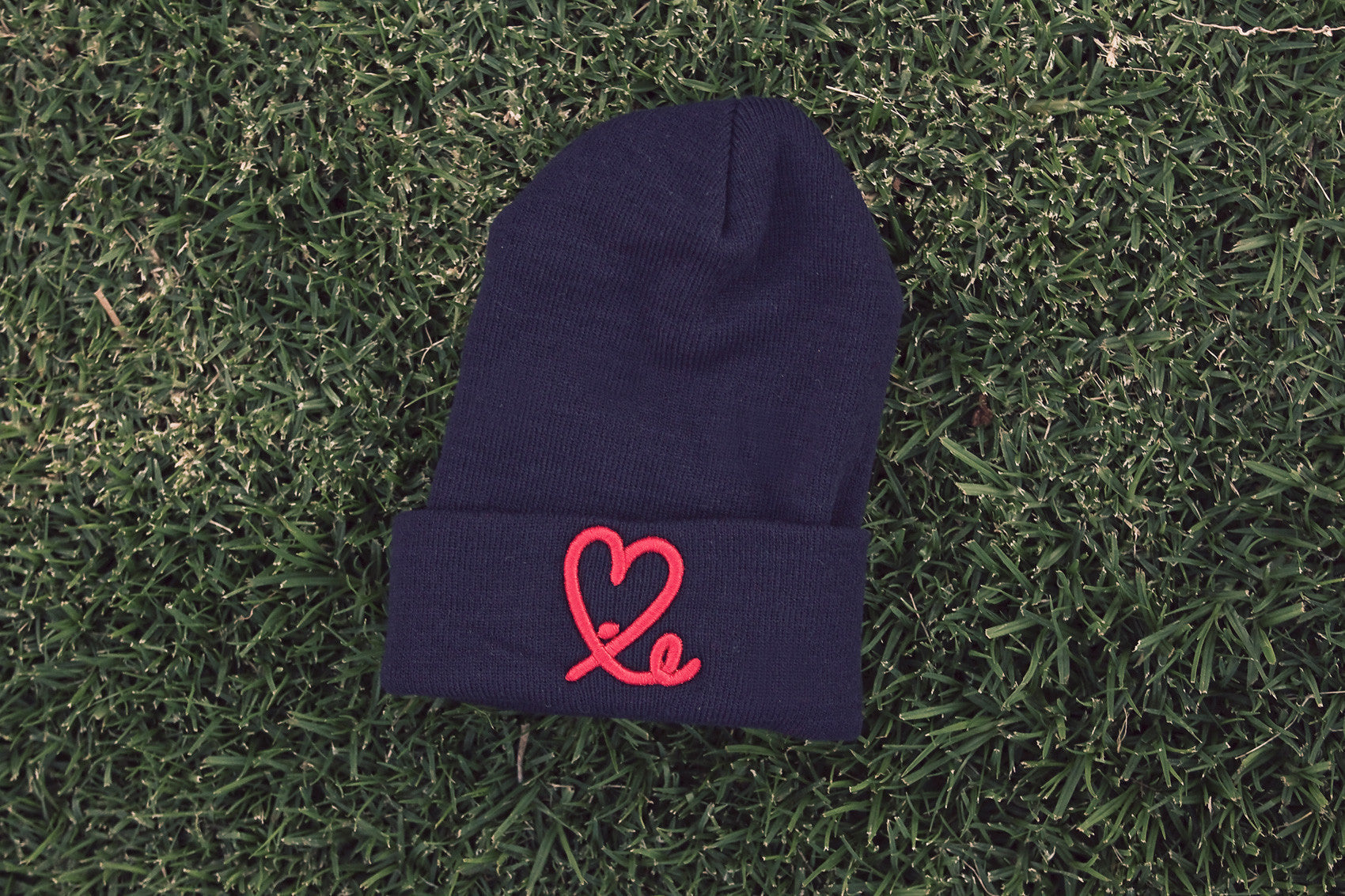 Fold Beanie (Navy Blue /Red)