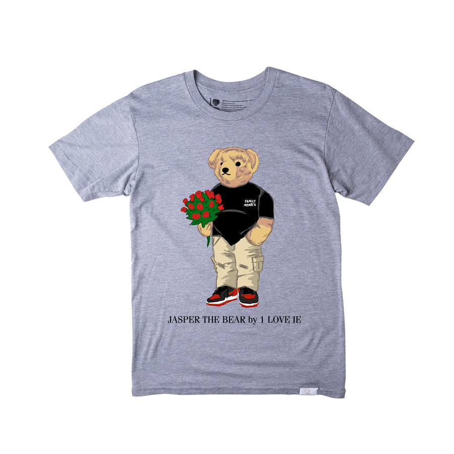 Jasper The Bear With Roses Grey Tshirt