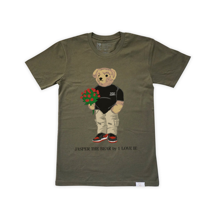 Jasper The Bear With Roses Army Green Tshirt