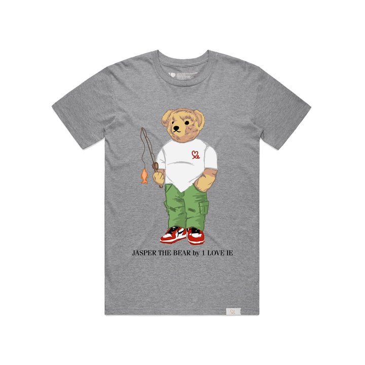 Jasper The Bear Fishing Heather Grey