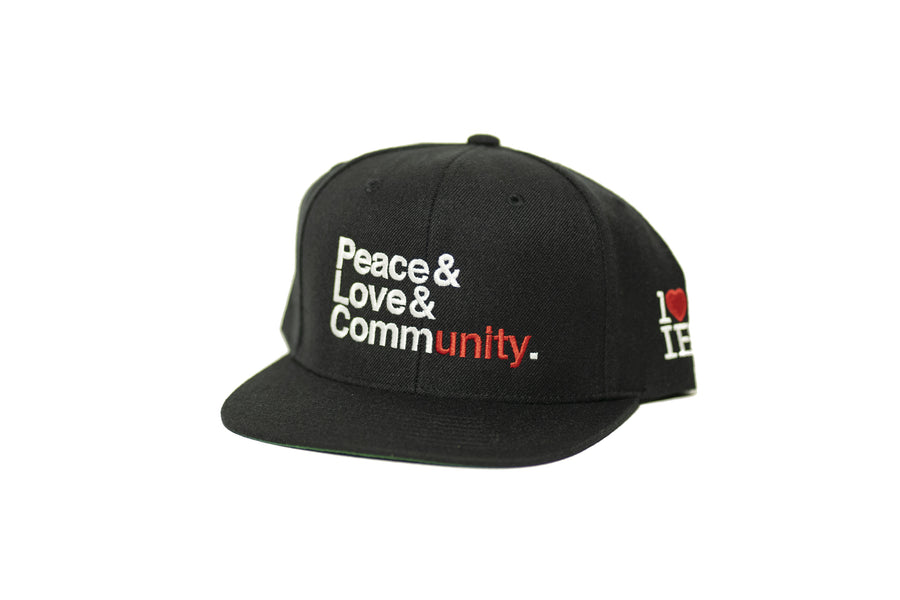 Peace & Love & Community Snapback (Black/White)