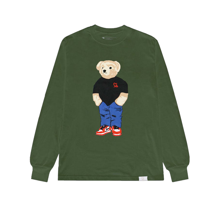 Jasper The Bear Long Sleeve Tshirt Army Green